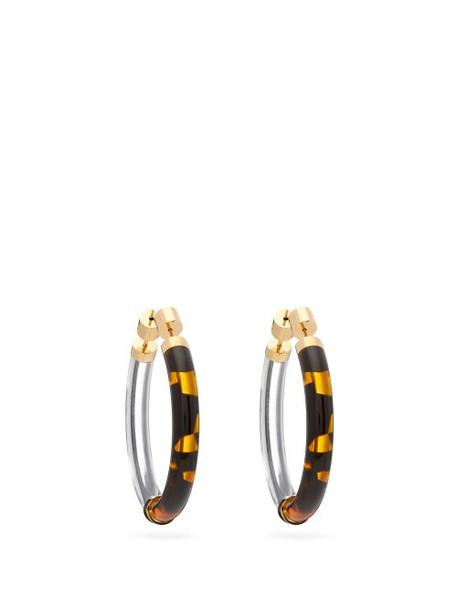 Fendi - Tortoiseshell-acetate Hoop Earrings - Womens - Brown