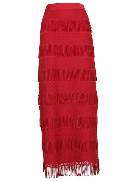 Alberta Ferretti Fringed Detailed Skirt in red