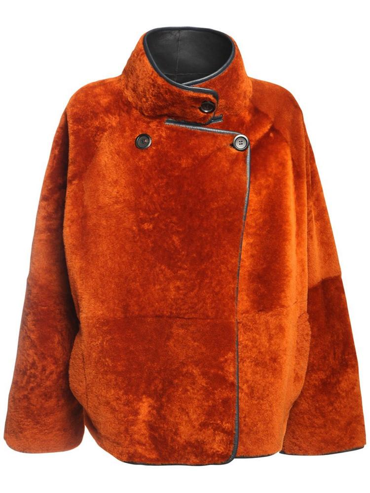 BLANCHA Reversible Light Merino Shearling Jacket in blue / brown
