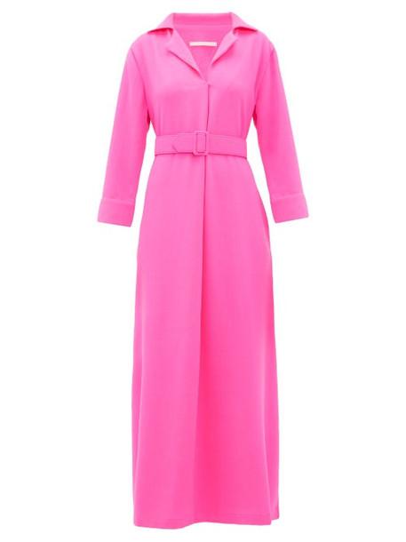 Marta Ferri - Belted Wool Crepe Maxi Dress - Womens - Fuchsia