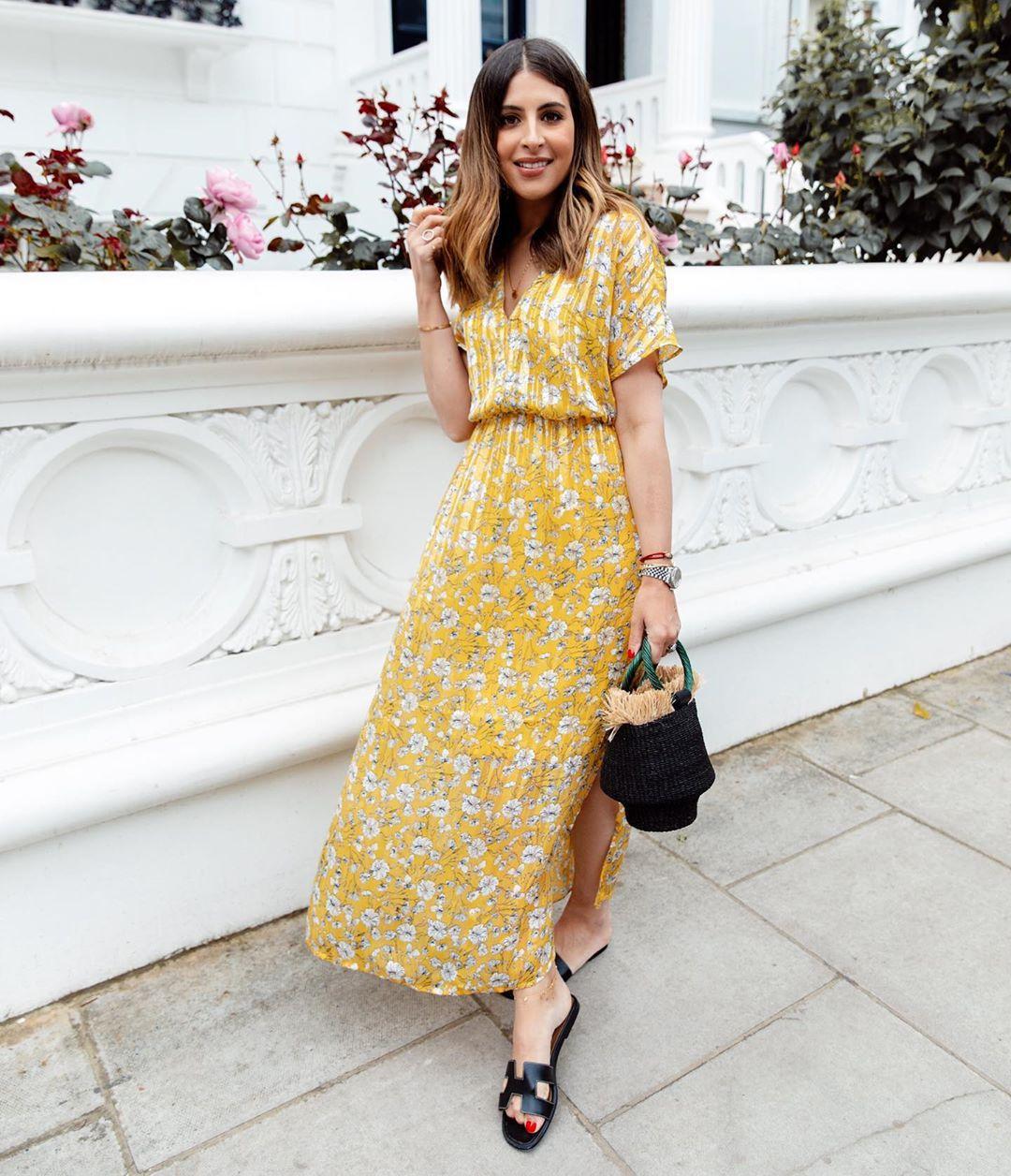 dress yellow dress maxi dress floral dress short sleeve dress slide shoes black bag handbag