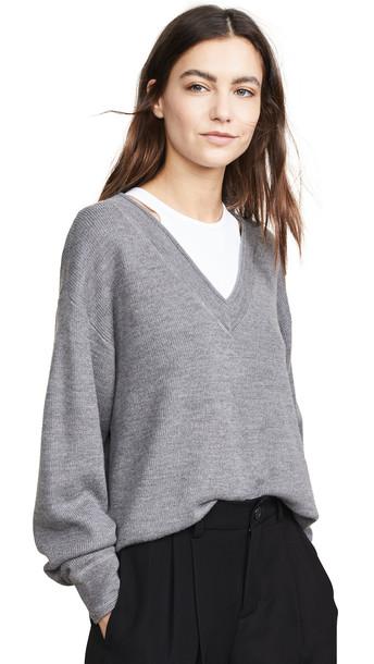 alexanderwang.t Bi-Layer V Neck Sweater in grey / white