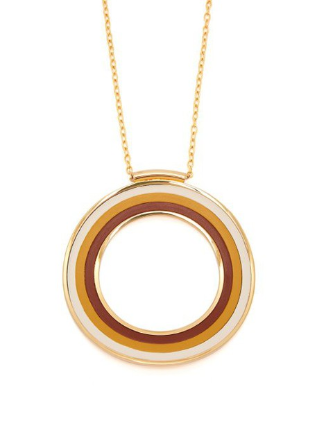 Marni - Striped Circle Pendant Necklace - Womens - Brown
