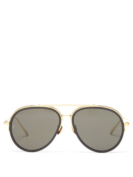 Linda Farrow - Abel Acetate & Gold-plated Aviator Sunglasses - Womens - Black