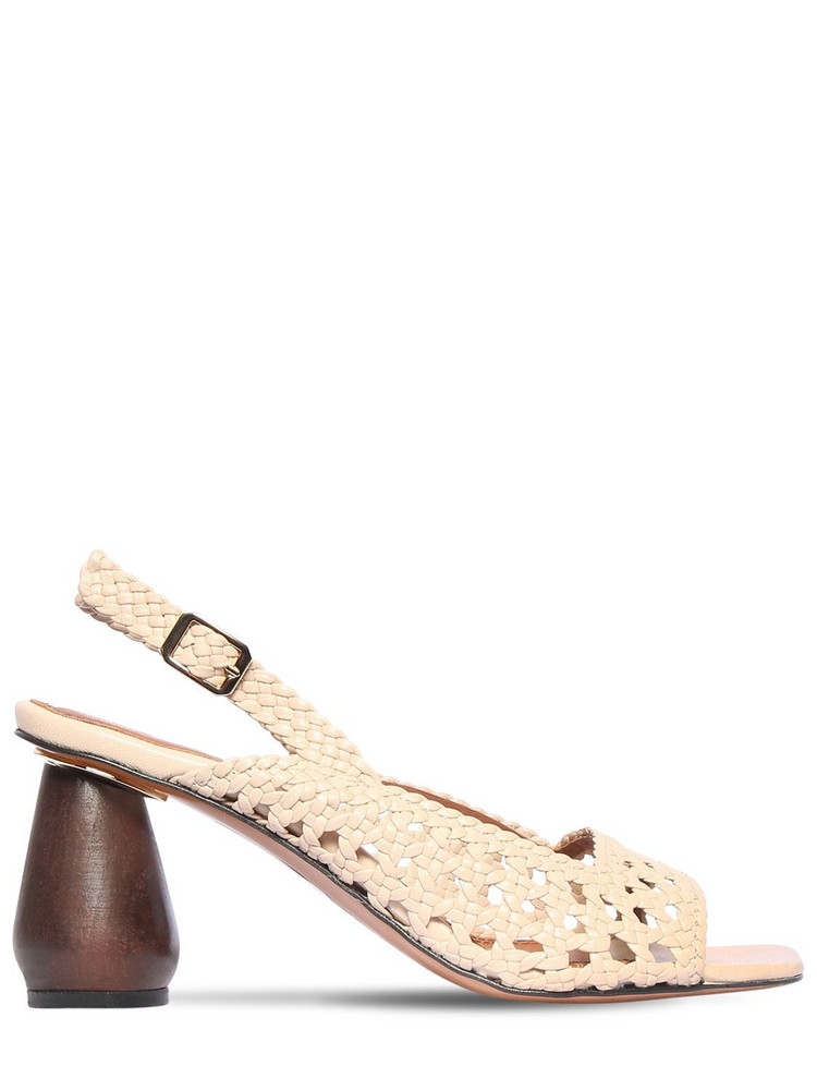 SOULIERS MARTINEZ 80mm Woven Leather Sandals in beige