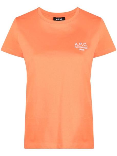 A.P.C. A.P.C. logo-print cotton T-shirt - Orange