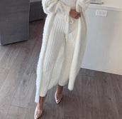 pants,knitted pants,white pants,knit,knitwear,lounge wear,pajamas