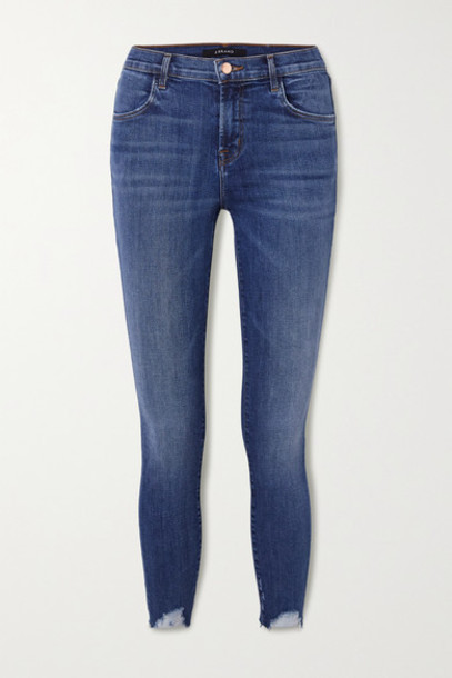 J Brand - Alana Distressed High-rise Skinny Jeans - Mid denim