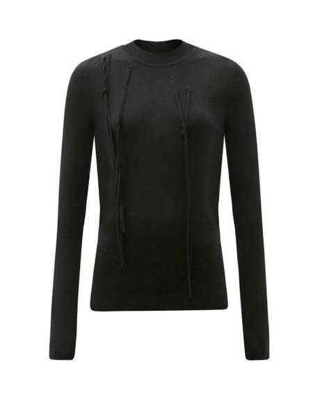 Palmer/harding Palmer//harding - I Love You Braille-eyelet Silk-blend Sweater - Womens - Black