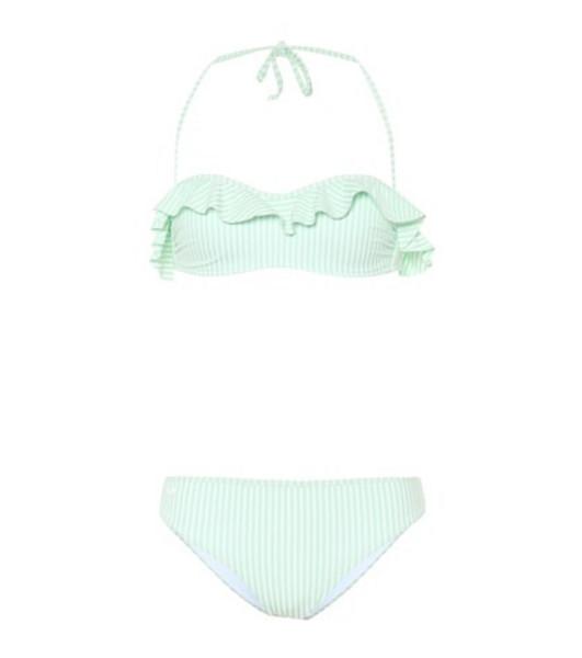 Fendi Stripped ruffled bikini set in green