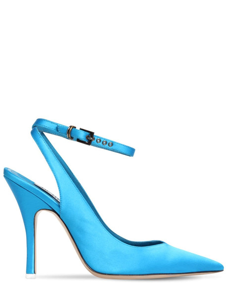 THE ATTICO 105mm Embellished Satin Pumps in blue