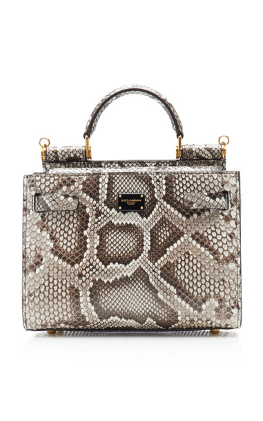 Dolce & Gabbana Snake-Effect Leather Top Handle Bag in white