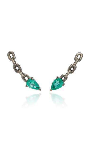 Jack Vartanian Rhodium-Plated 18K White Gold Emerald and Diamond Earrings in black