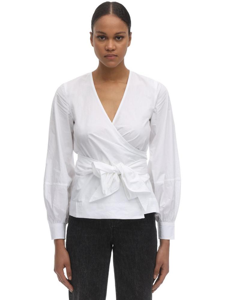 GANNI Cotton Poplin Wrap Shirt in white