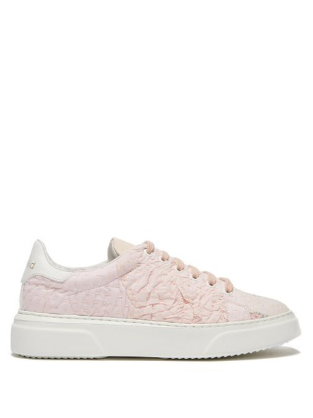 By Walid - 19th Century Panelled Low Top Trainers - Womens - Light Pink