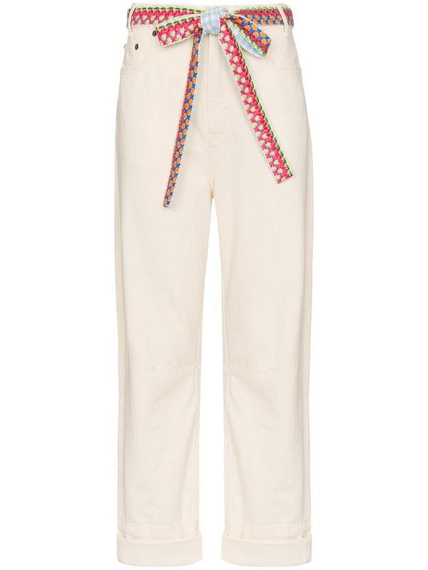 Mira Mikati woven belt wide-leg jeans in neutrals