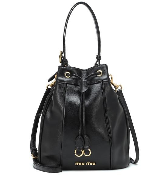 Miu Miu Leather bucket bag in black