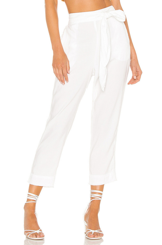 Bella Dahl High Waisted Side Trimmed Pant in white
