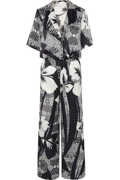 Marie France Van Damme - Printed Silk-satin Jumpsuit - Black