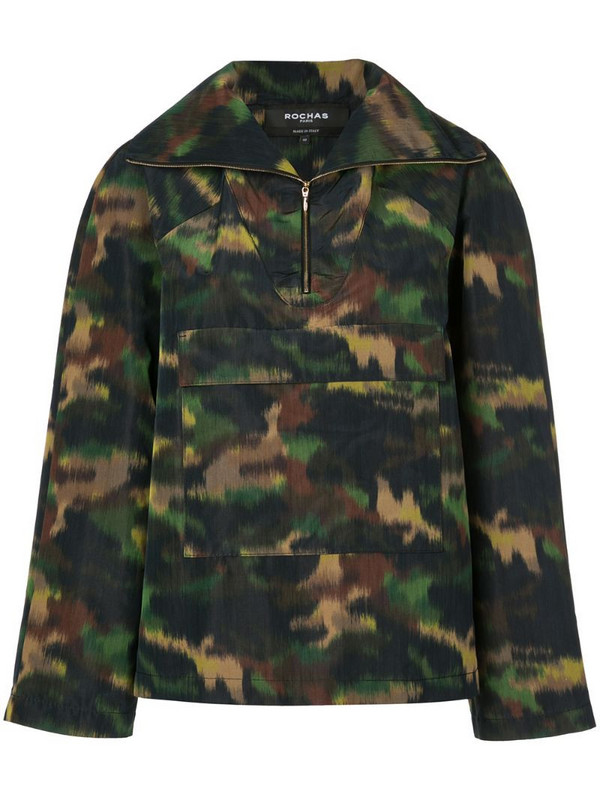 Rochas camouflage print jacket in green