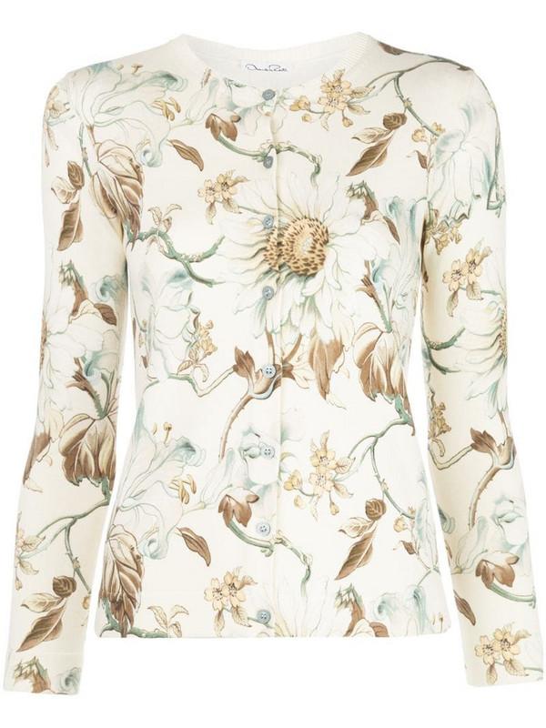 Oscar de la Renta floral-print cardigan in white