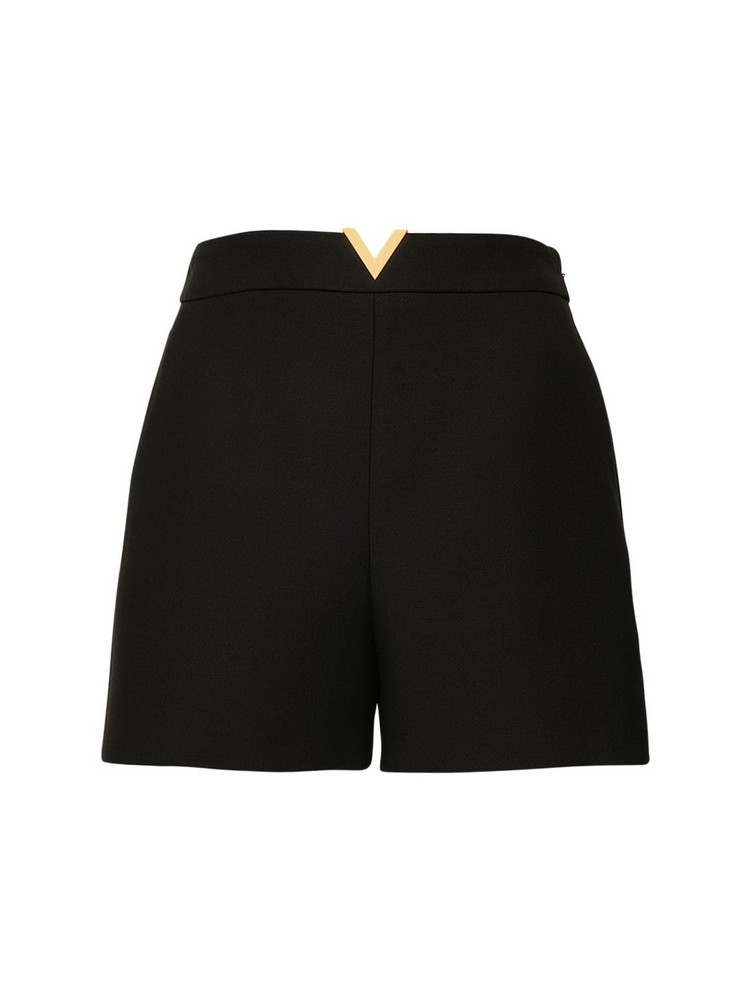 VALENTINO V Detail Wool & Silk Couture Shorts in black