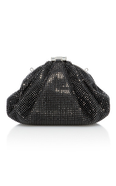 Judith Leiber Couture Enchanted Crystal-Embellished Satin Clutch in black