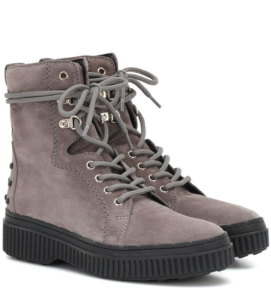 Tod's Winter Gommino suede ankle boots in grey