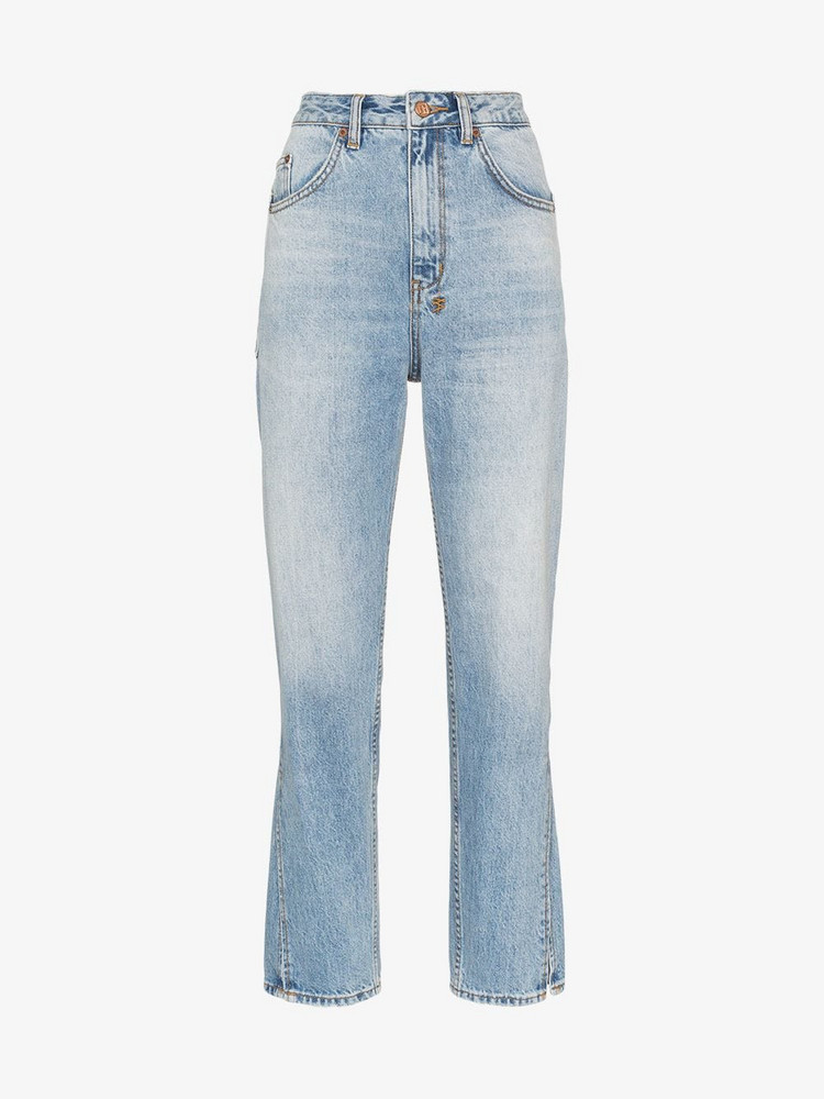 Ksubi Chlo Wasted High-Rise Cropped Jeans in blue