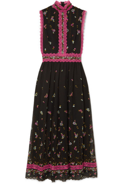 Costarellos - Lace-trimmed Embroidered Silk-blend Tulle Midi Dress - Black