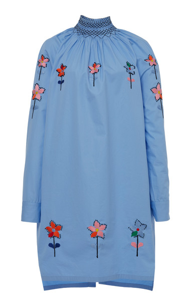 Prada Embroidered Cotton Smocked Tunic in blue