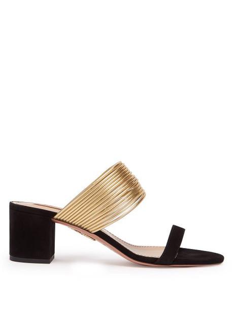 Aquazzura - Rendez Vouz 50 Suede Sandals - Womens - Black Gold