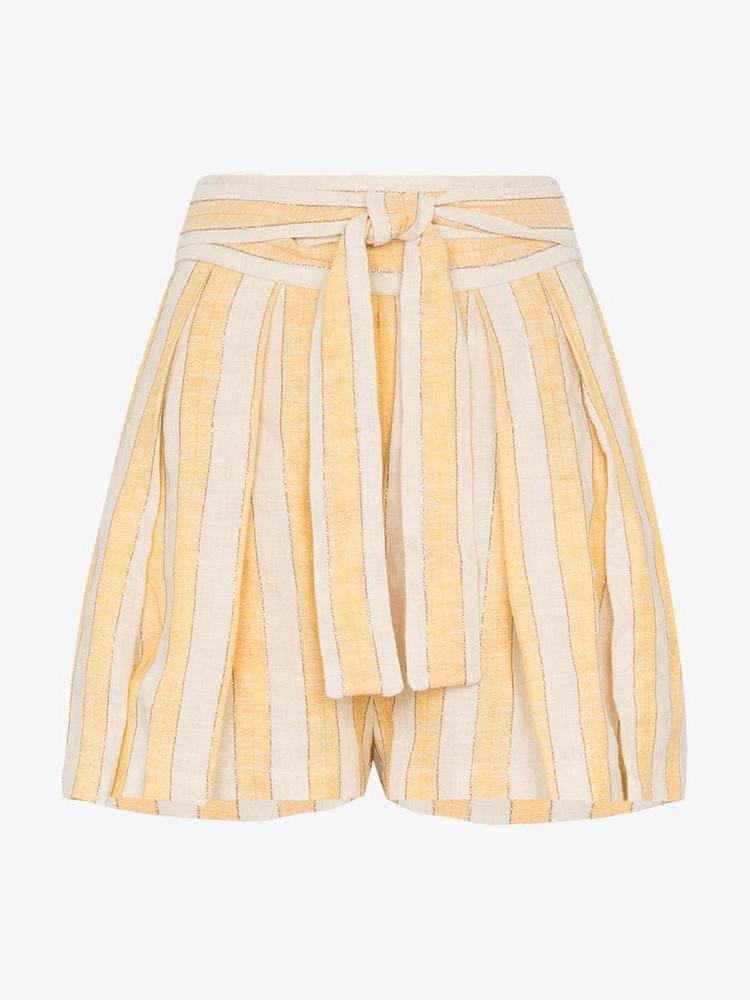 Three Graces Jola stripe tie-waist shorts in yellow