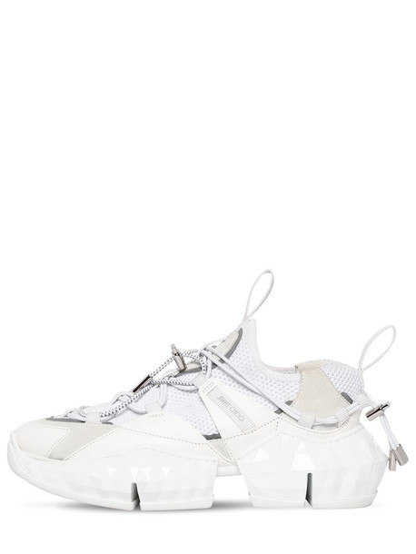 JIMMY CHOO 50mm Diamond Knit & Leather Sneakers in white