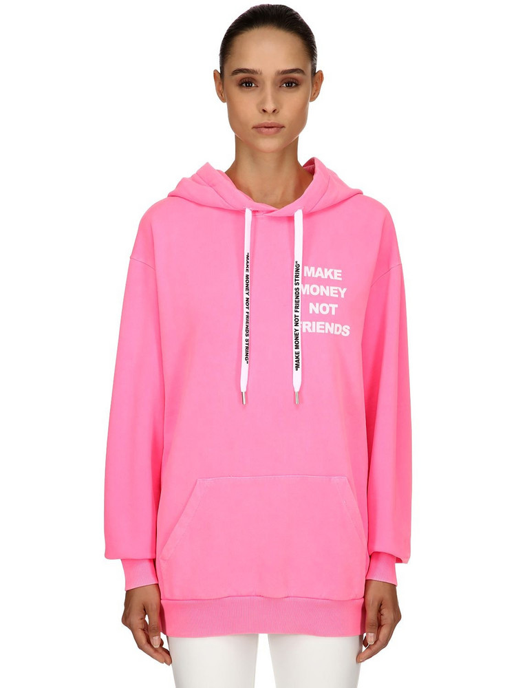 MAKE MONEY NOT FRIENDS Logo Print Cotton Sweatshirt Hoodie in fuchsia