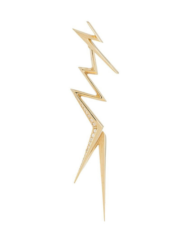 LE STER 18kt yellow gold diamond Thunderflash jacket and right ear studs