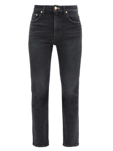 Tu es mon TRÉSOR Tu Es Mon Trésor - Rose Quartz Cropped Cotton Slim-leg Jeans - Womens - Black