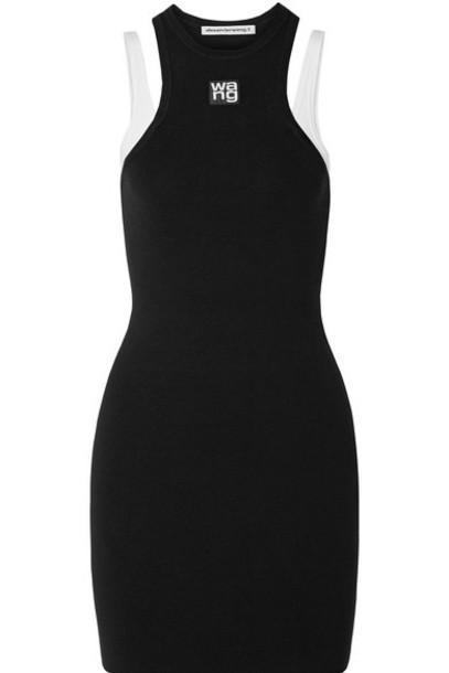 alexanderwang.t - Layered Ribbed Stretch-knit Mini Dress - Black