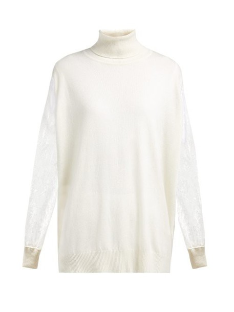 Ryan Roche - Lace Sleeve Roll Neck Cashmere Sweater - Womens - White