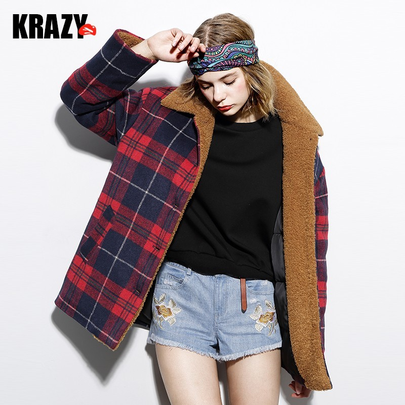Love retro Plaid lamb fur collar contrast color in the blue-and-white Plaid quilted padded cotton Jacket Women - Bonny YZOZO Boutique Store