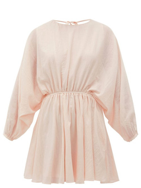 Loup Charmant - Kitta Batwing-sleeve Cotton Mini Dress - Womens - Pink