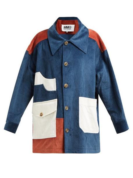 Mm6 Maison Margiela - Cotton Blend Corduroy Coat - Womens - Blue Multi