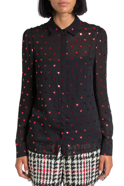 RED Valentino Red Hearts Allover Printed Shirt