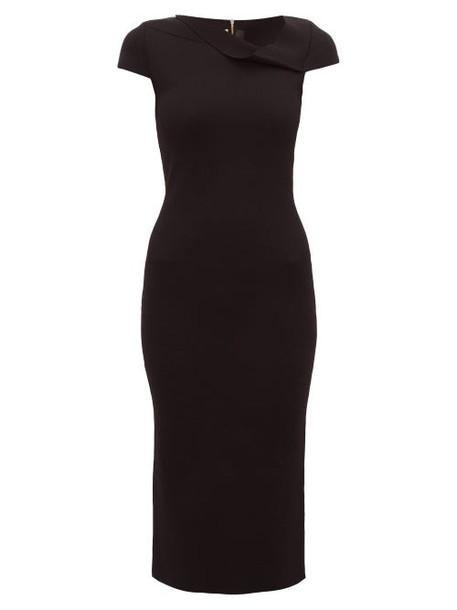 Roland Mouret - Keel Asymmetric Neck Knitted Pencil Dress - Womens - Black