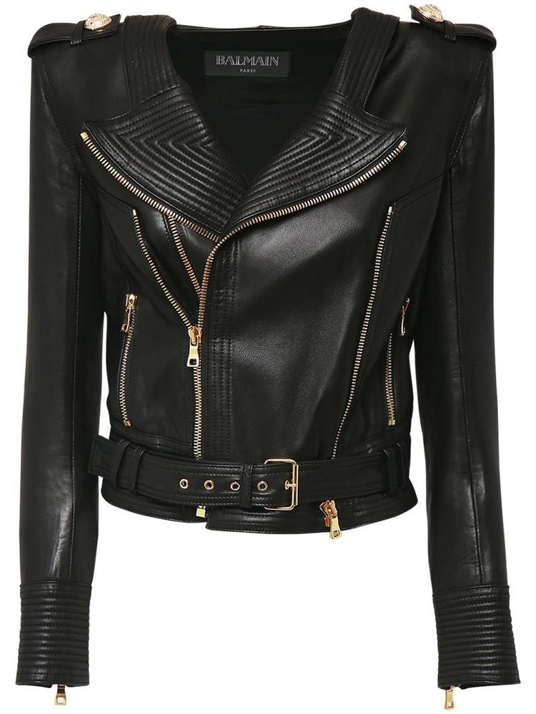 BALMAIN Crop Leather Biker Jacket in black