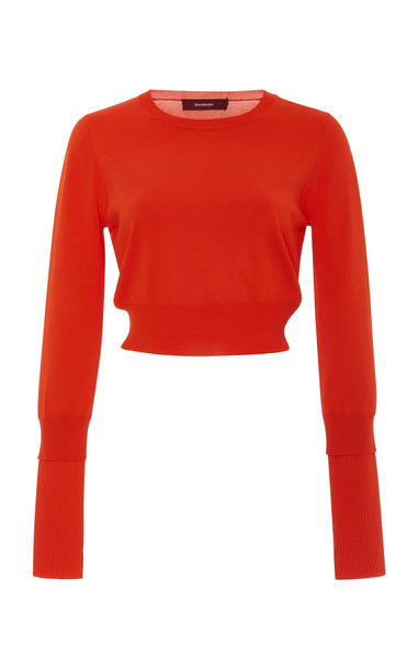 Sies Marjan Gwin Cropped Stretch-Knit Sweater in orange