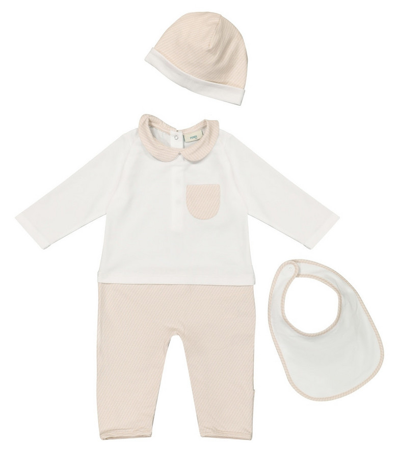 Fendi Kids Baby stretch-cotton onesie, bib and hat set in white