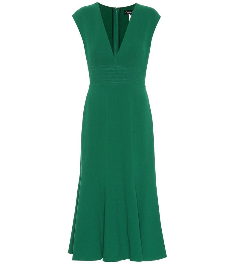 Oscar de la Renta Stretch wool-crêpe dress in green