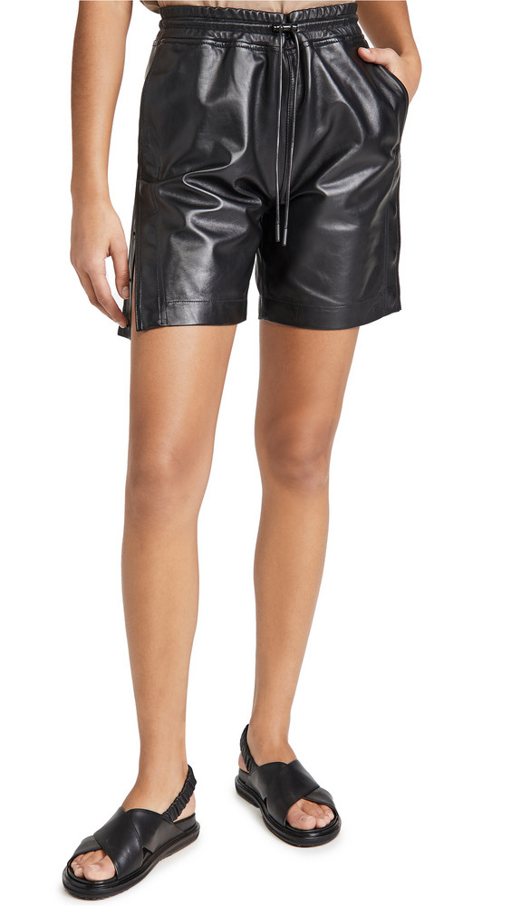 RtA Camden Leather Shorts in black