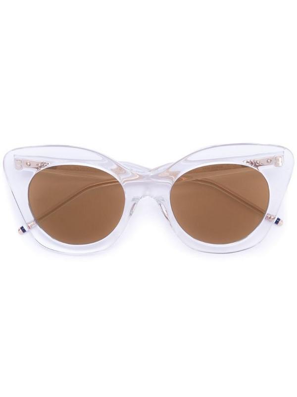 Thom Browne Eyewear cat eye sunglasses in brown / gold / clear